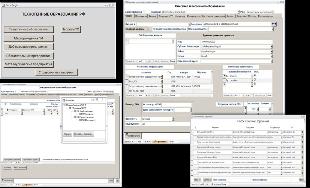 Рис. 3. Примеры интерфейсов интегрированного информационного массива ТО и их источников.